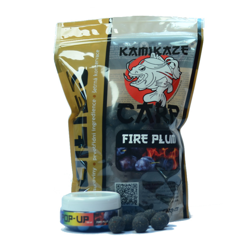 AKCE boilie Kamikaze carp fire plum 1 kg+fluo pop up