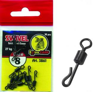 Quick change swivel Extra carp vel. 8 10 ks